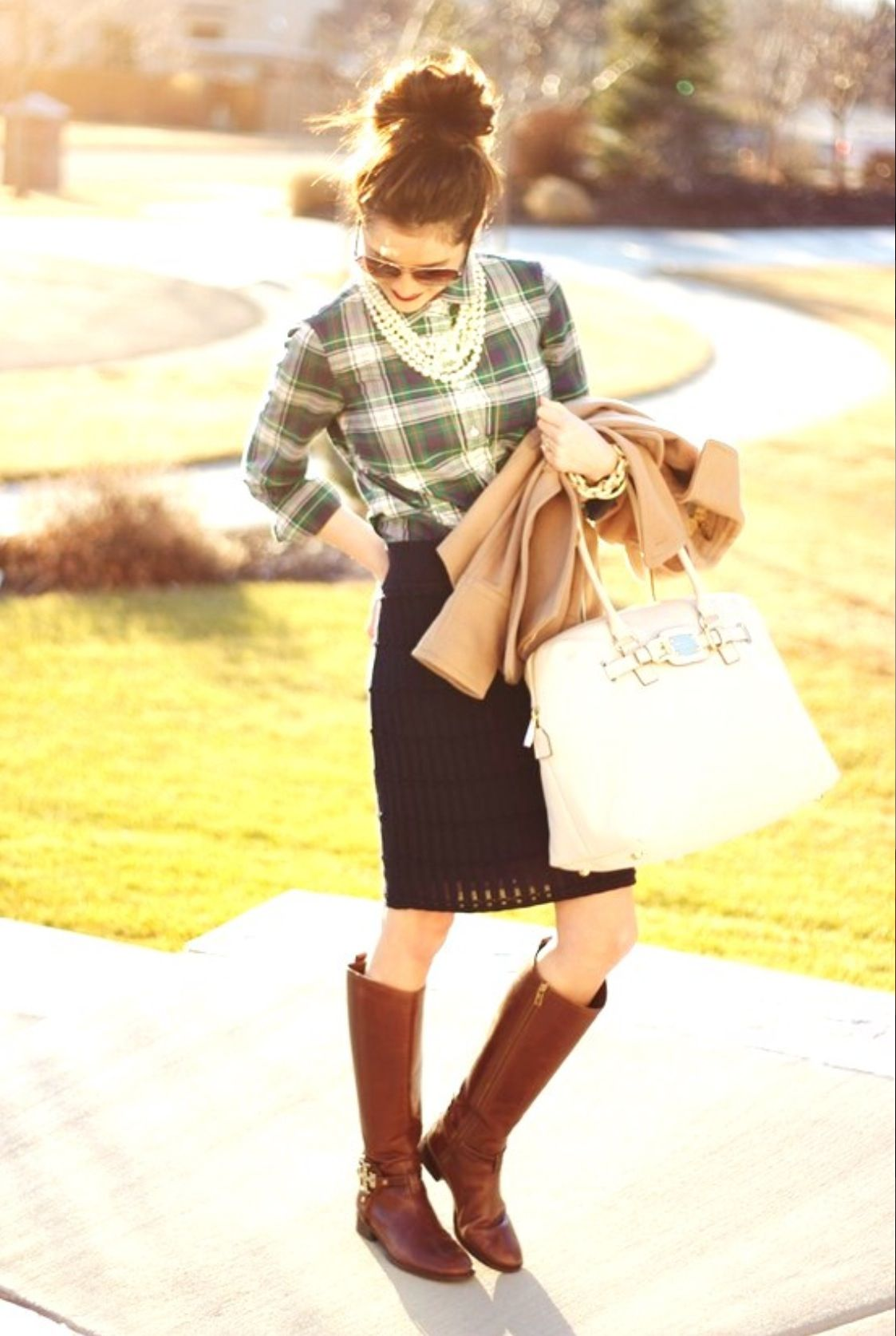 Yellow flannel outfits  What to wear with riding boots  How to rock riding boots at work