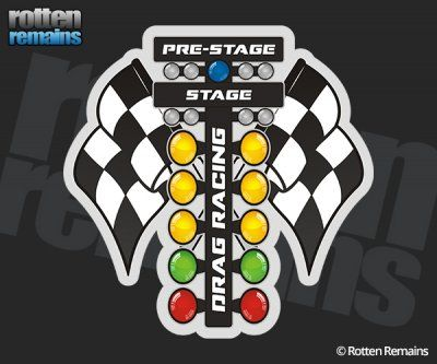 Drag Racing Christmas Tree Lights Checkered Flags Sticker Decal - Drag Racing Christmas Tree Lights Checkered Flags Sticker Decal