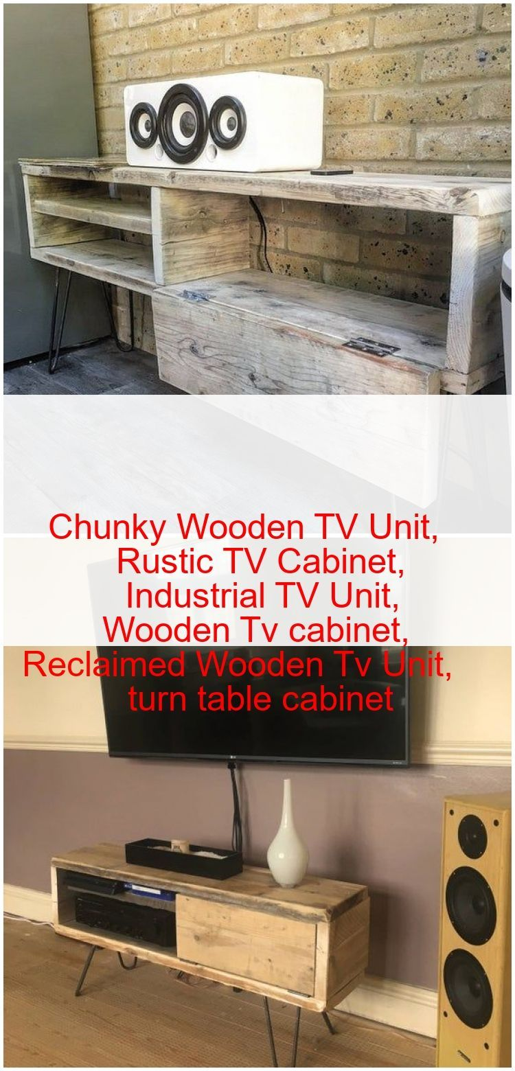 Chunky Wooden Tv Unit Rustic Tv Cabinet Industri In 2020