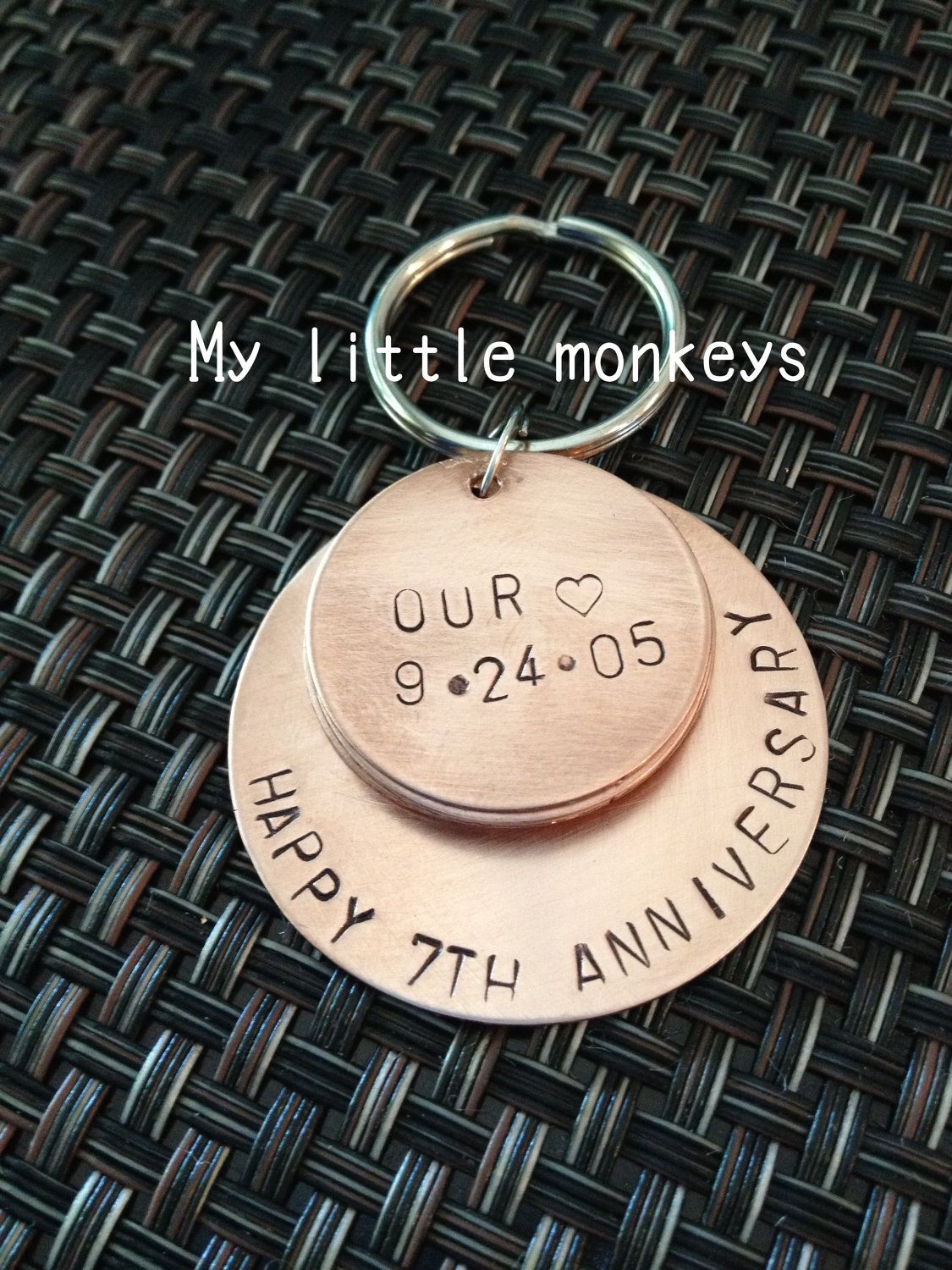 7th wedding anniversary gift copper gift custom hand stamped keychain 2700 via