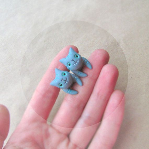 Two earrings - Cheshire Cats - grey mint green -  winter jewelry - hand painted polymer clay stud earrings