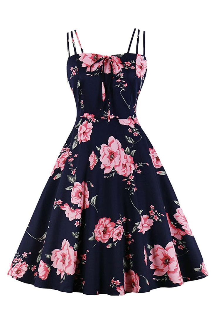 Atomic Blue Blooming Floral Swing Dress In 2021 Pretty Dresses For Teens Cute Casual Dresses Cute Dresses For Teens [ 1104 x 736 Pixel ]