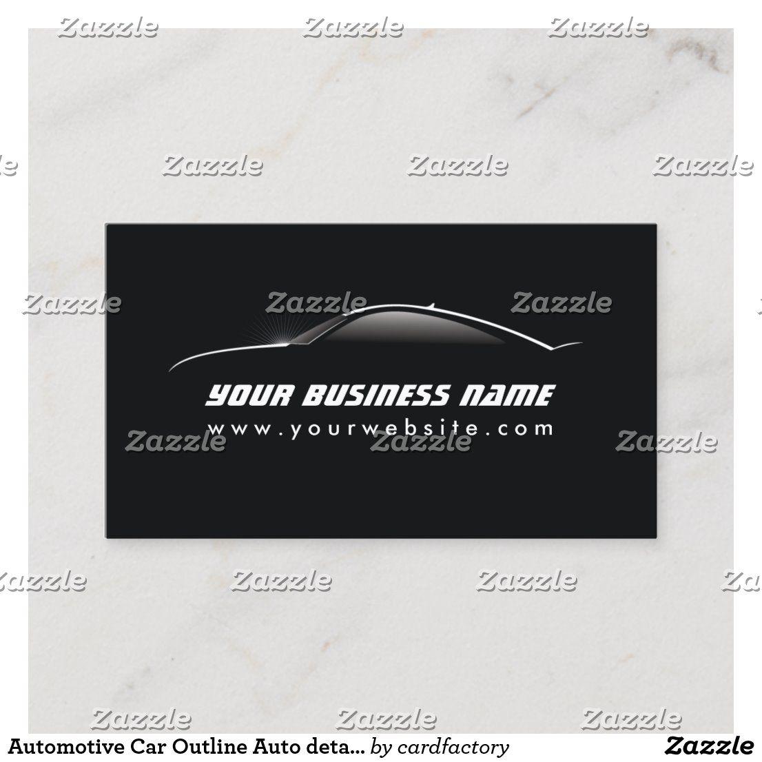 Automotive Car Outline Auto Detailing Repair Business Card