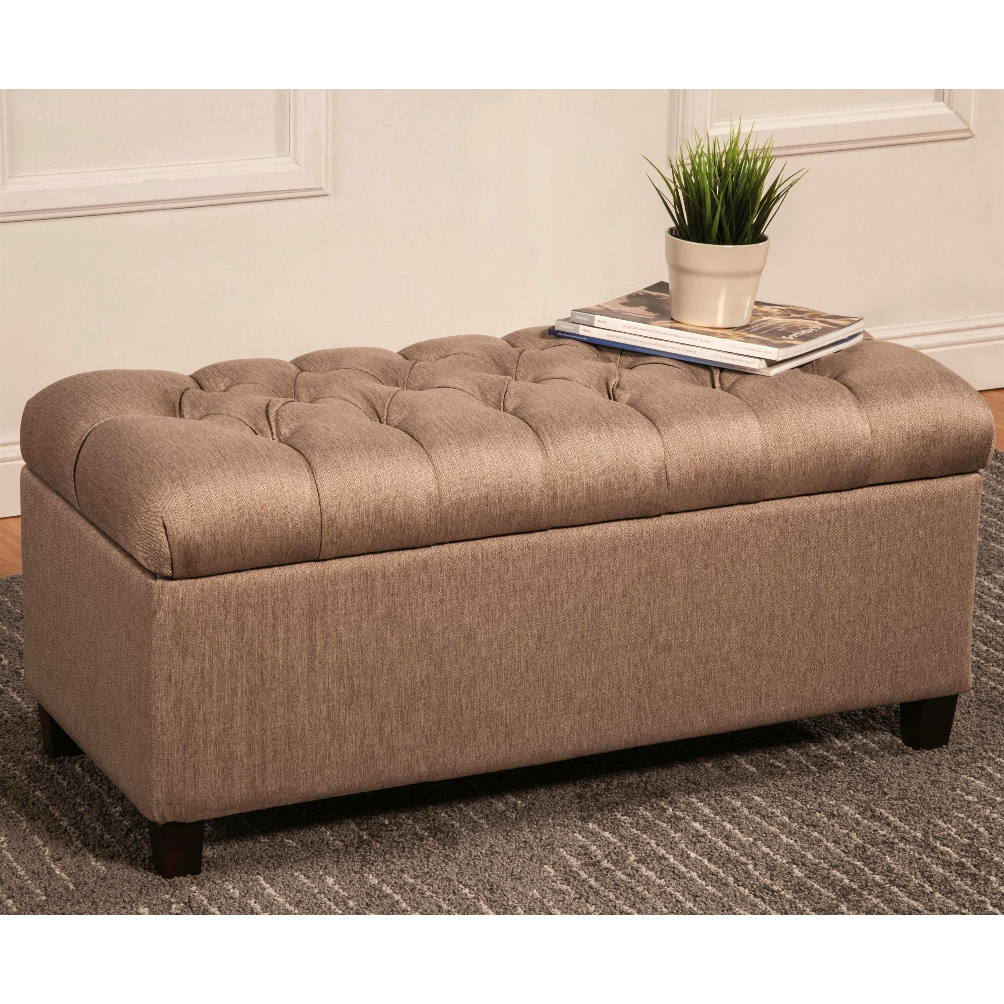 This transitional style multi function bench features a tufted this transitional style multi function bench features a tufted cushion top and storage space this may be used as an ottoman coffee table geotapseo Image collections