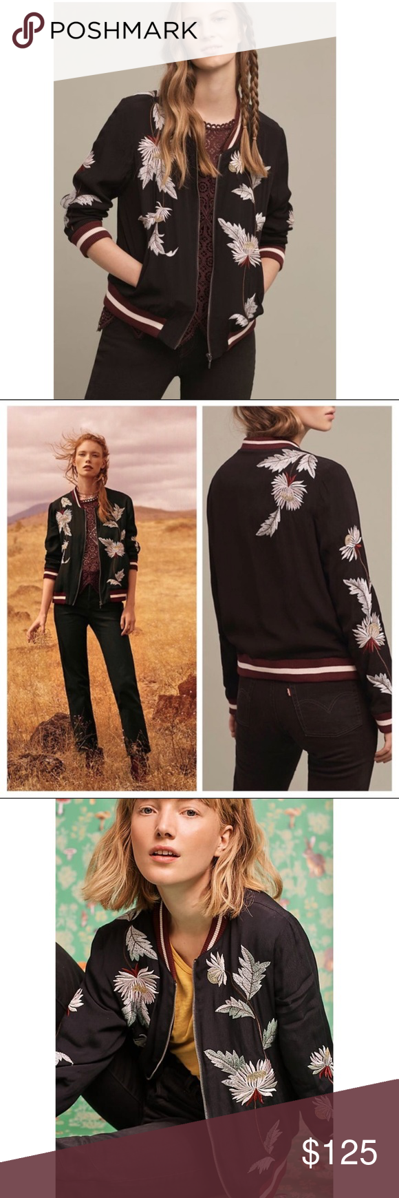b19ebd3d4 Anthropologie EMBROIDERED SOLSTICE BOMBER new Style No ...