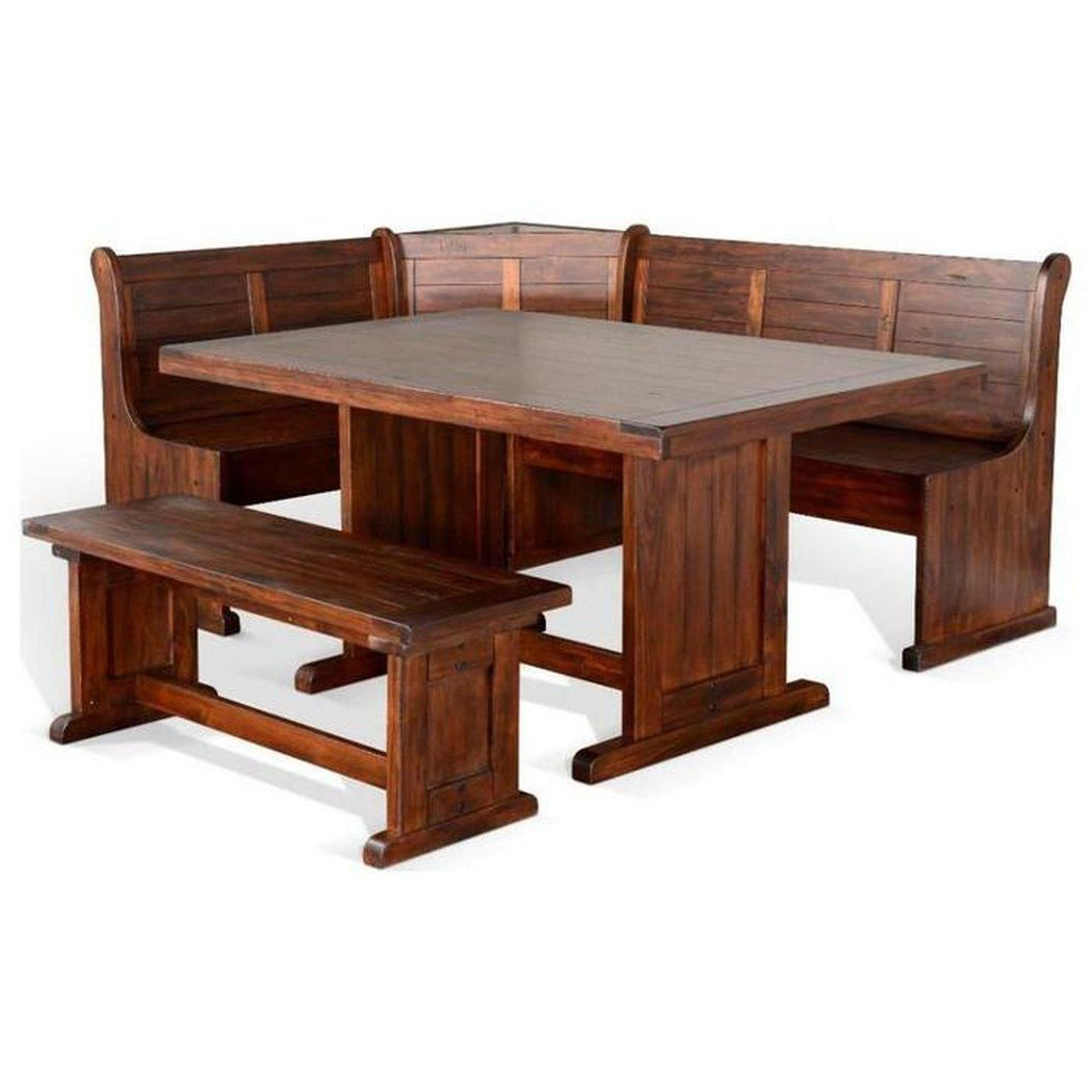 Breakfast Nook Long Bench & Corner Back Wood Seat