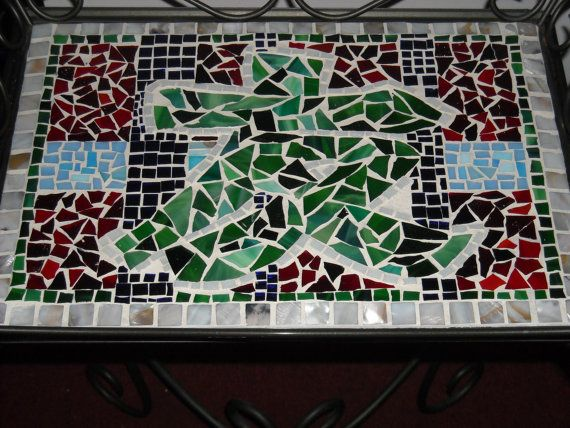 Handmade Mosaic Chinese Character Table By