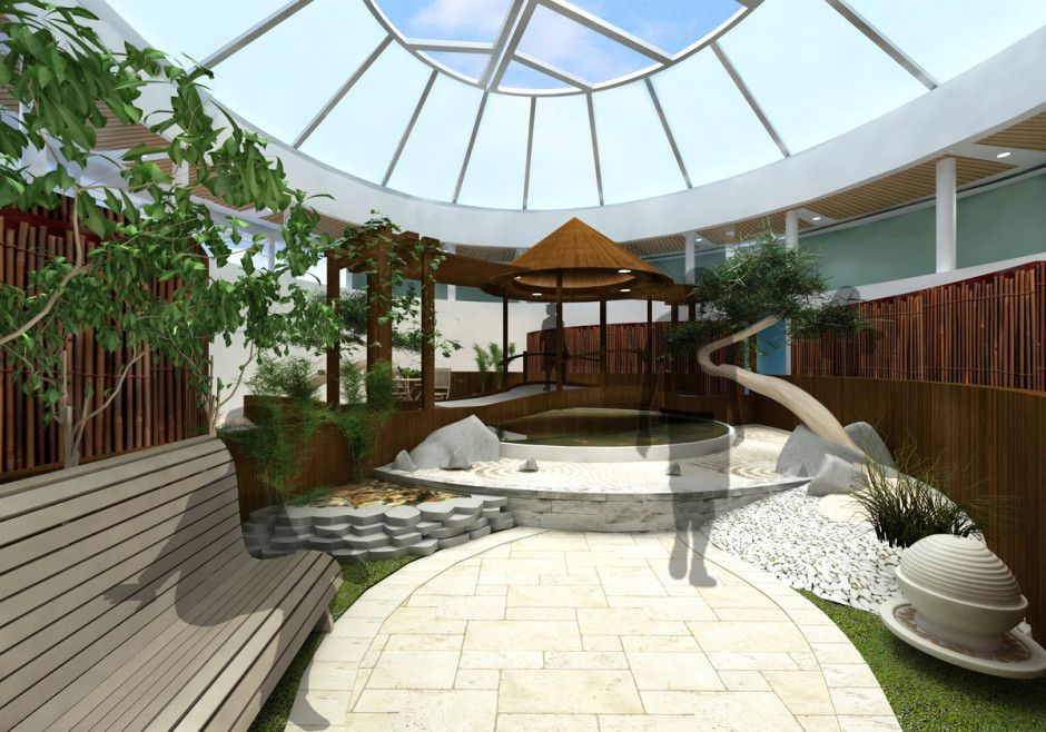 Indoor Zen Garden Ideas Part - 31: Garden Futuristic Indoor Zen Garden Designed With Wooden Bench Also Stoned  Walkway Plus Gazebo Beside Pond
