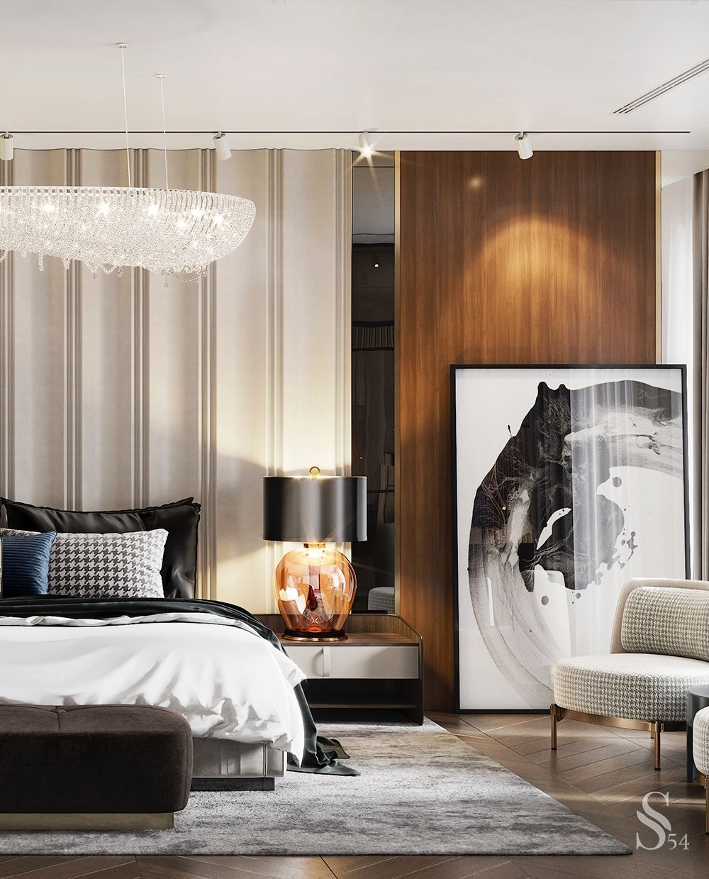 A luxurious master bedroom with an amazing chandelier and