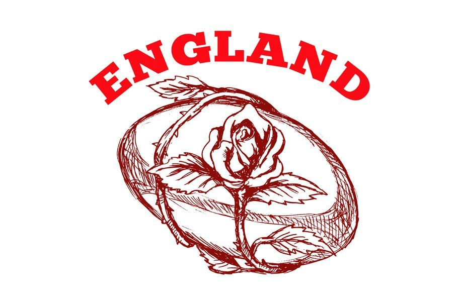 England Rugby Ball With English Rose Rugby Ball England Rugby English Roses