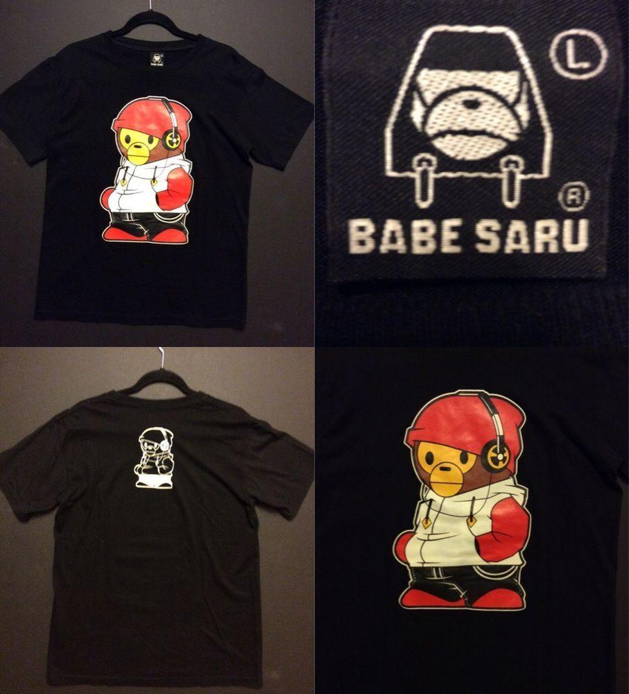 Black t shirt ebay - Babe Saru Men S Large Rare Black Mineral Washed Music Graphic Tee Street T Shirt Ebay