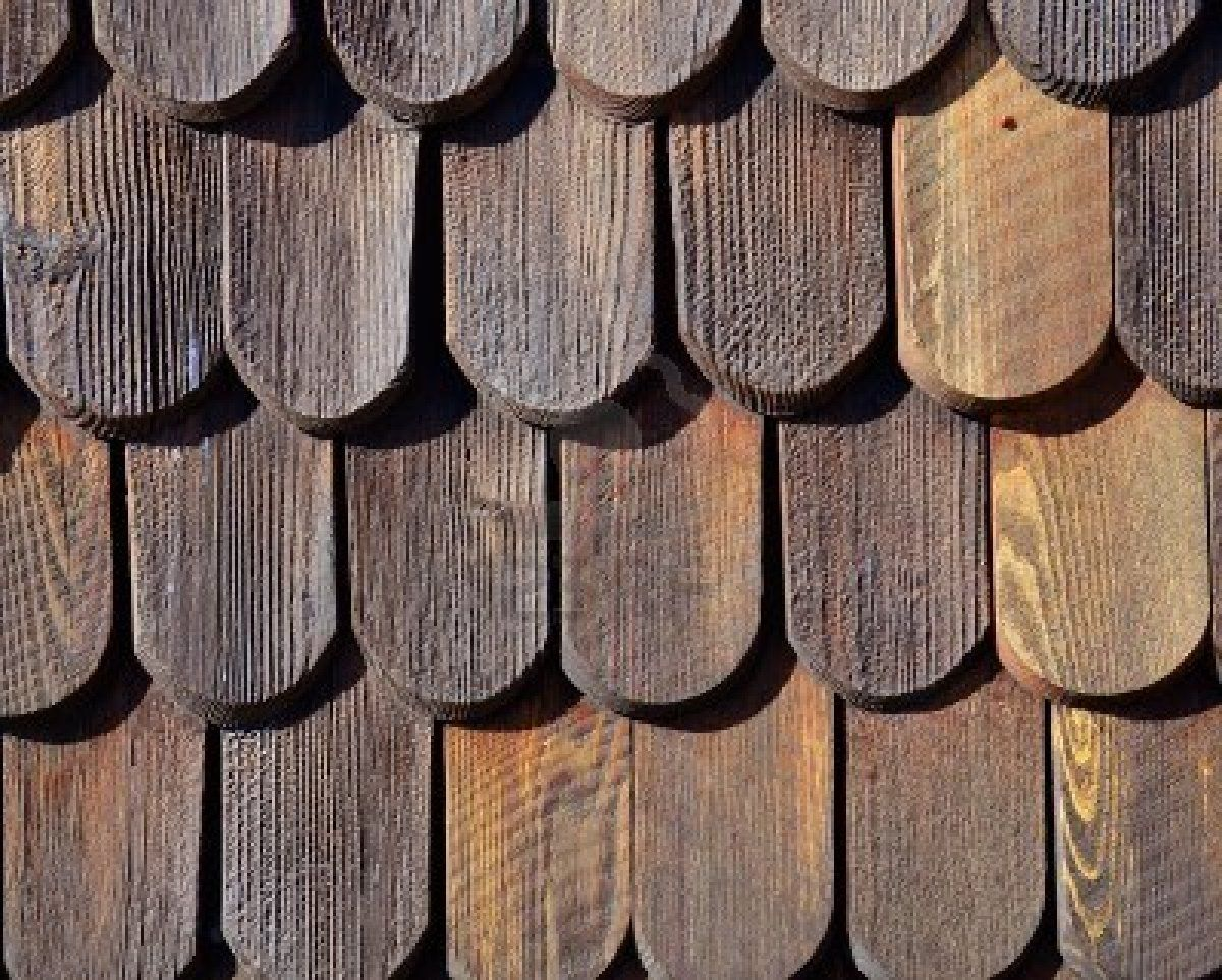 Wooden roof tiles pattern Stock Photo
