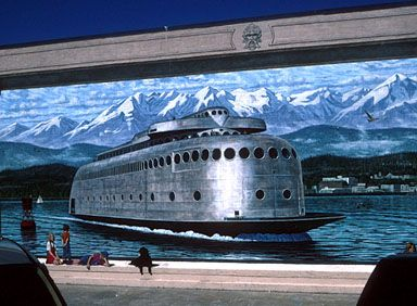 art deco car ferry mural, puget sound does anyone know if this is a real ferry?  it is awesome....!