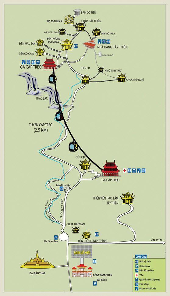 Kinh nghiệm đi lễ hội Tây Thiên - Bản đồ khu di tích