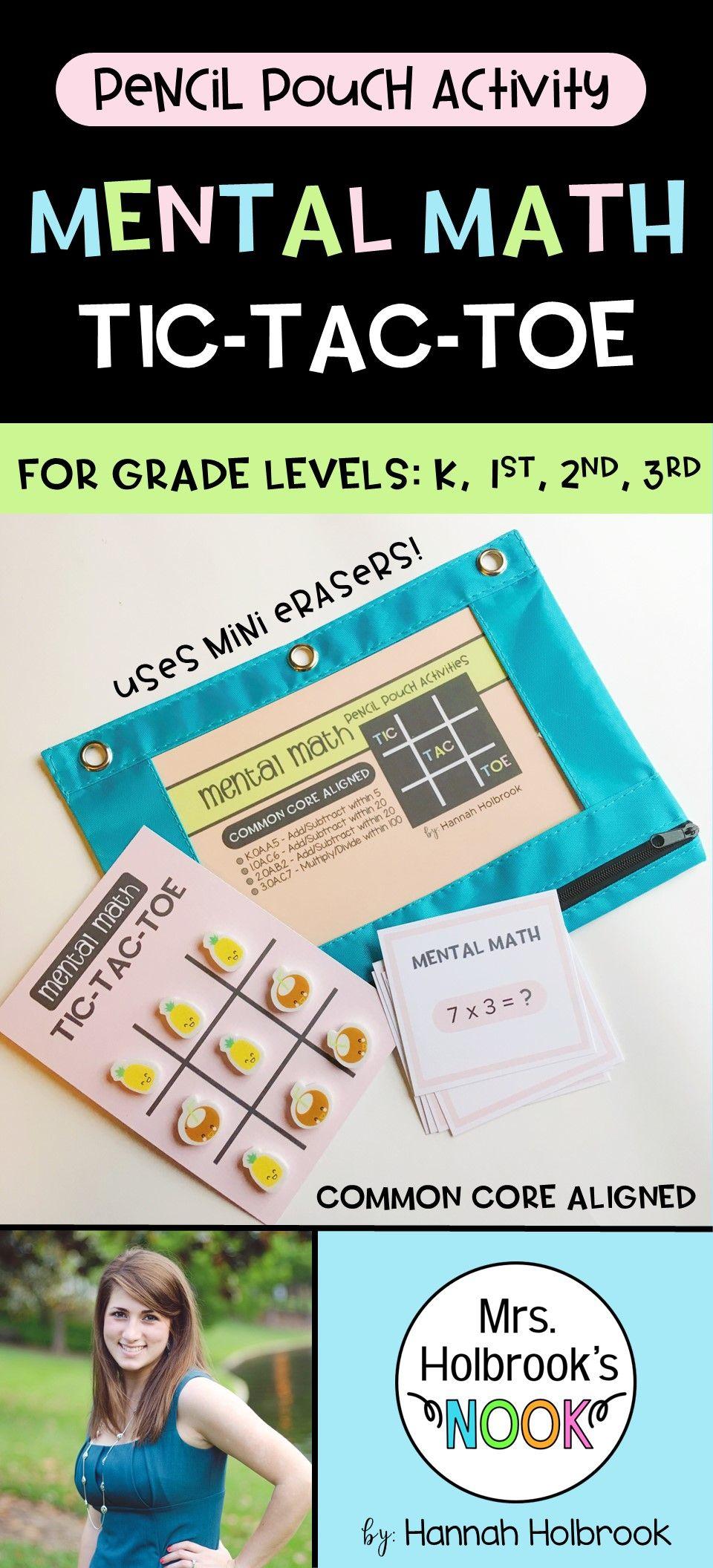 Pencil Pouch Activity - Mental Math Tic-Tac-Toe | Pinterest
