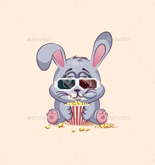 Emoji Character Cartoon Eating Popcorn At Movies