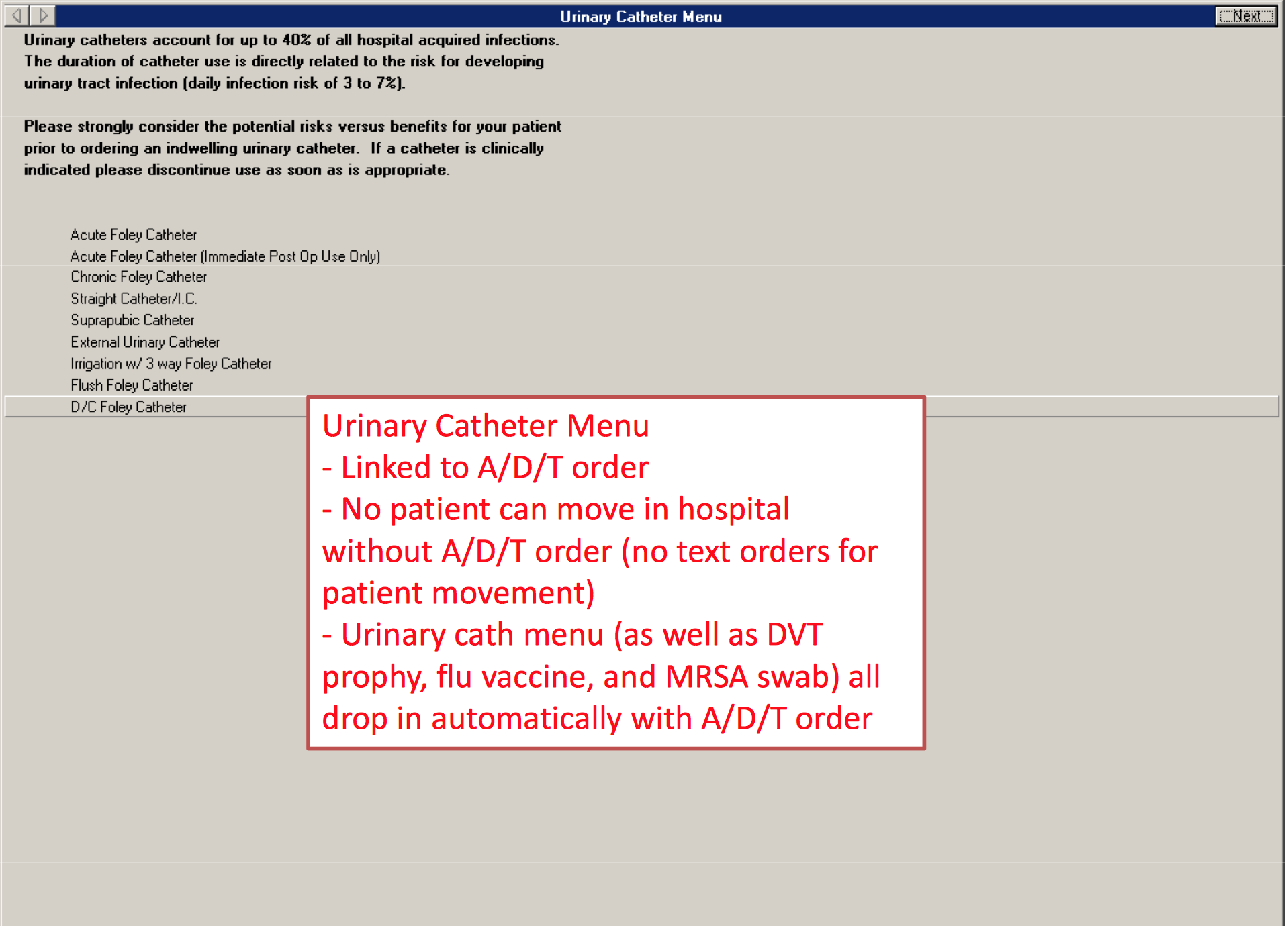 Computerized Urinary Catheter Removal Example