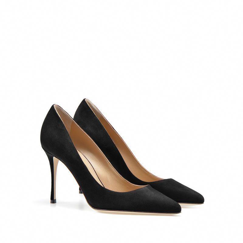 51c51dd917a Sergio Rossi - Godiva pump in fine black suede with a high heel  SergioRossi