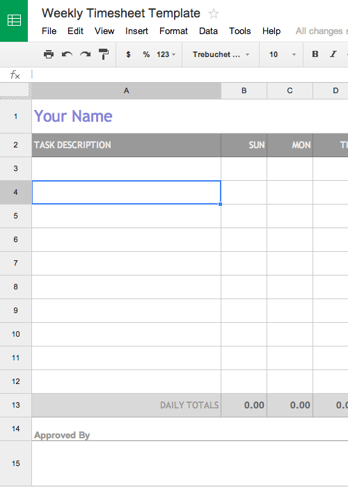 Free Weekly Timesheet Template For Google Docs Aka Timecard Or Time Card Template Timesheet Template Invoice Template Freelance Invoice Template