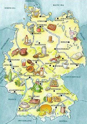 Germany Food Map Landkarte Deutschlandkarte Und Essen In