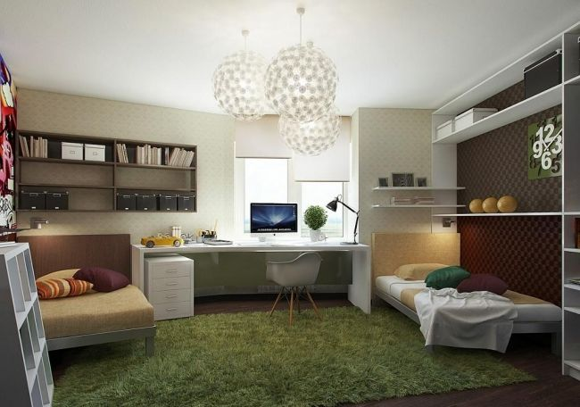 Jugendzimmer für jungs grün  gestaltung jugendzimmer jungen braun grün wandregale | Ria´s ...