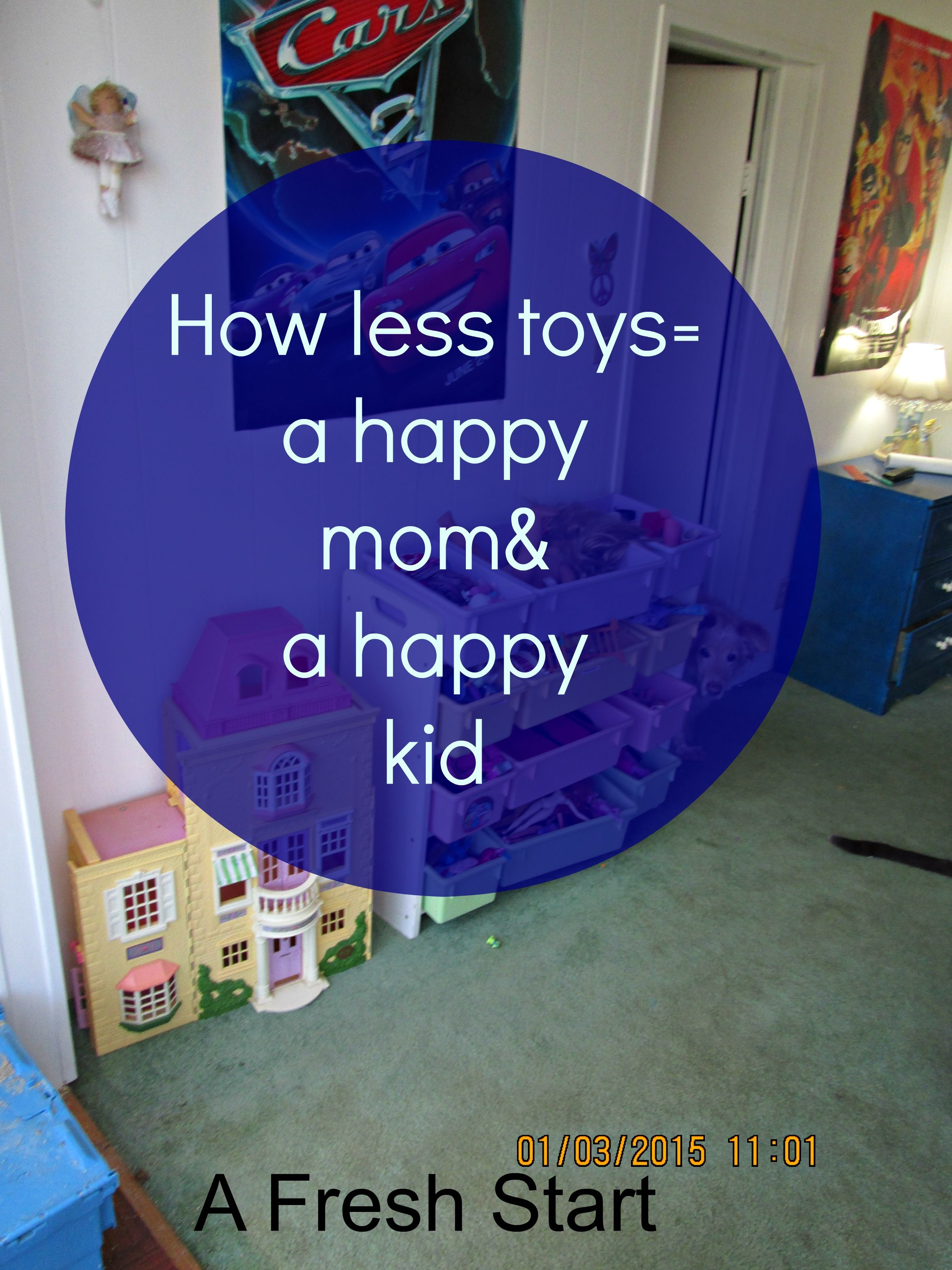 Simple organization idea less toys= a happier family