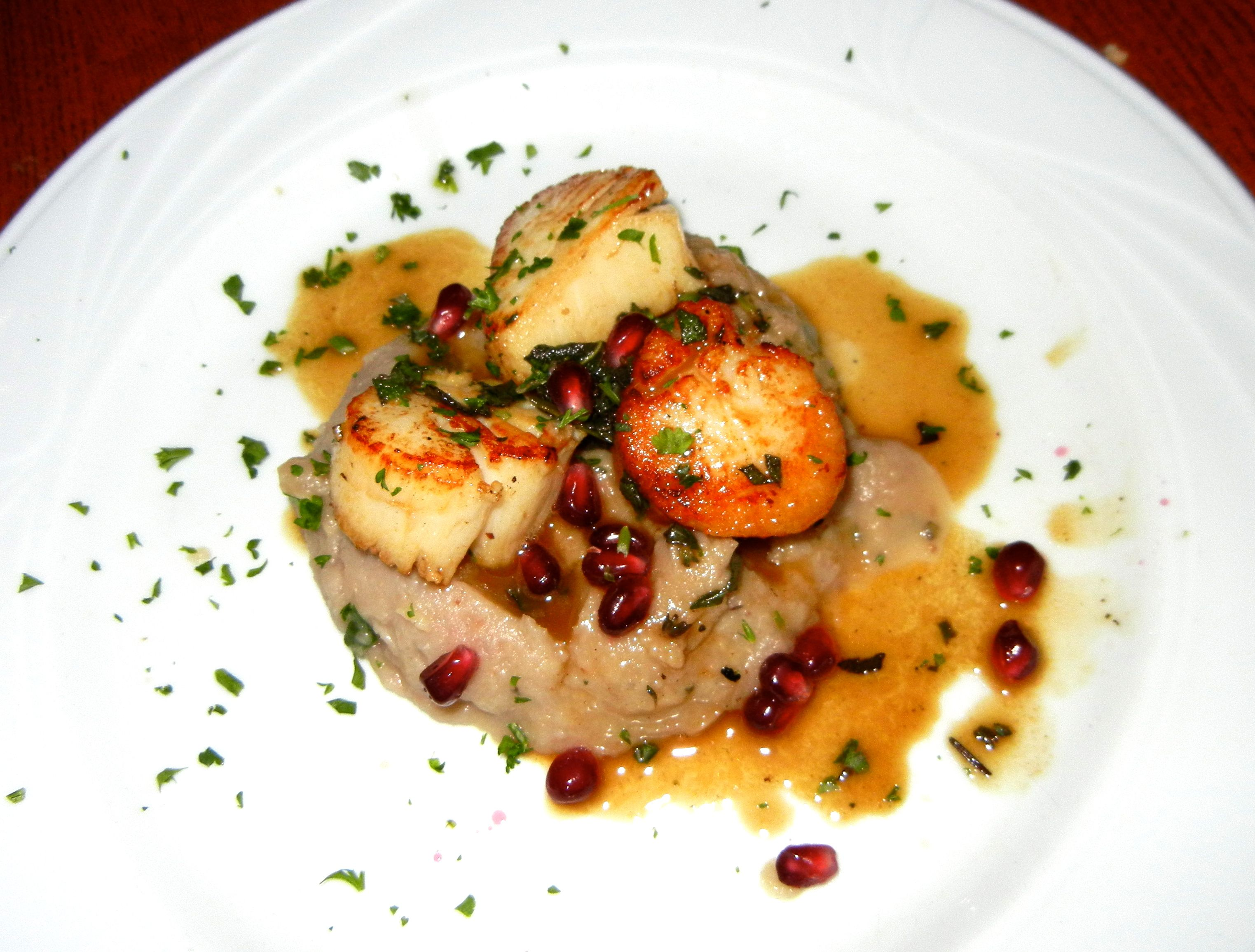Pan Seared Sea Scallops Served Over Roasted Parsnip Chestnut Puree Finished With Sage Brown Er At The Red House Restaurant In Cambridge Ma