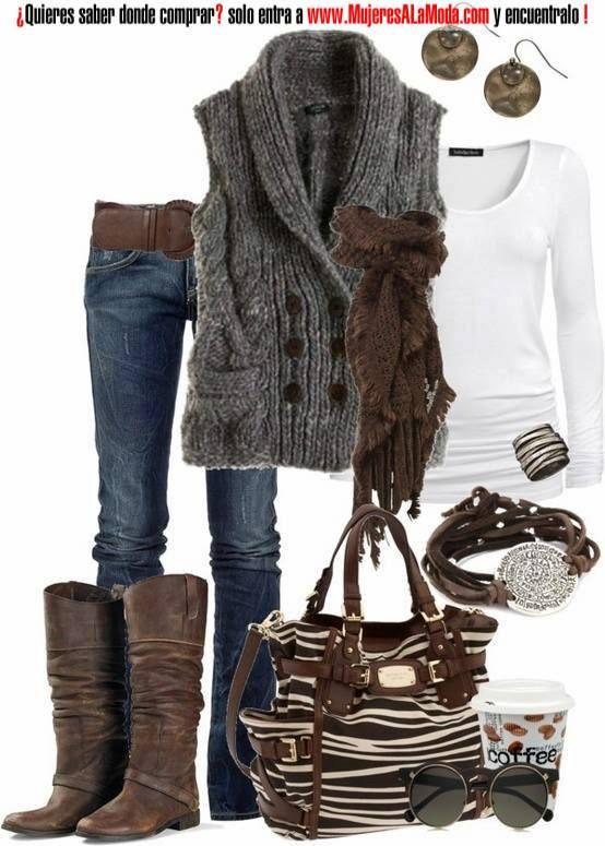 Combinaciones con marr n y gris outfit fall winter - Combinaciones con gris ...