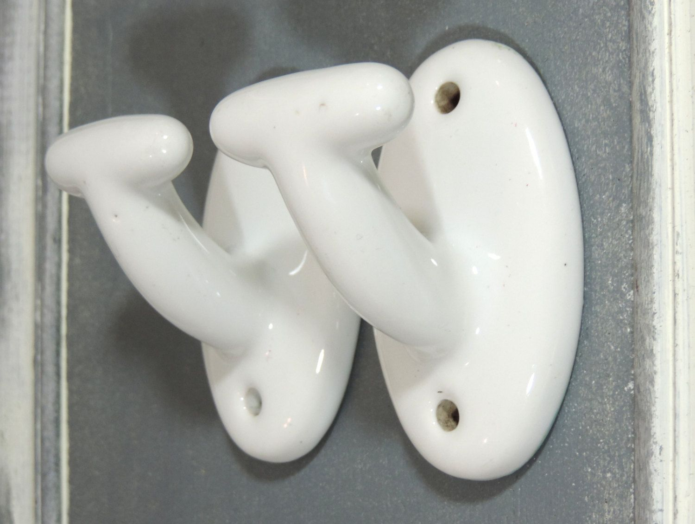 Vintage Wall Hooks French Vintage White Ceramic Hooks Vintage Ceramic Wall Hooks Towel Hooks Pair Of White Ceram Vintage Walls Vintage Ceramic White Vintage