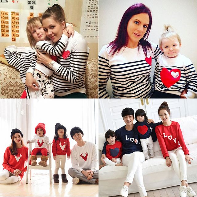 5727db8a Christmas t-shirt striped mother mommy and me daughter father son kids baby  clothes matching family outfits clothing family look