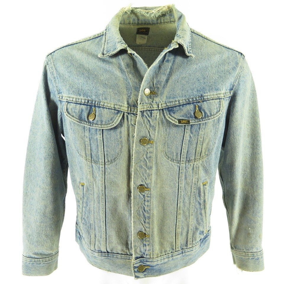 Vintage 80s Lee Denim Trucker Jacket Medium Distressed Faded Classic The Clothing Vault Denim Fashion Vintage Denim Vintage Denim Jacket [ 960 x 960 Pixel ]