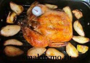 Запеченная курица с грушами и лимоном