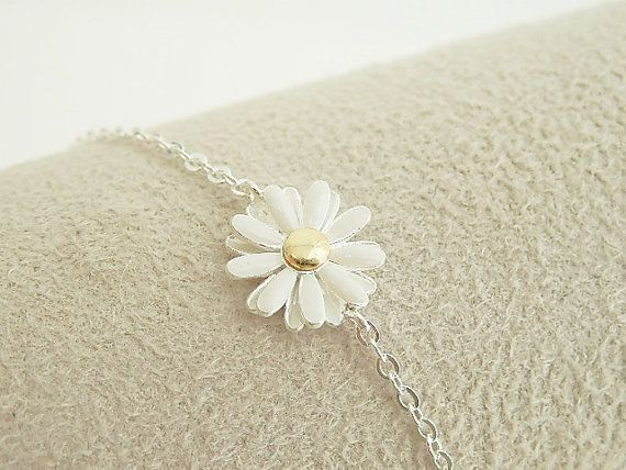 Daisy Flower Bracelet In Silver Bridesmaid Jewelry By Brillants