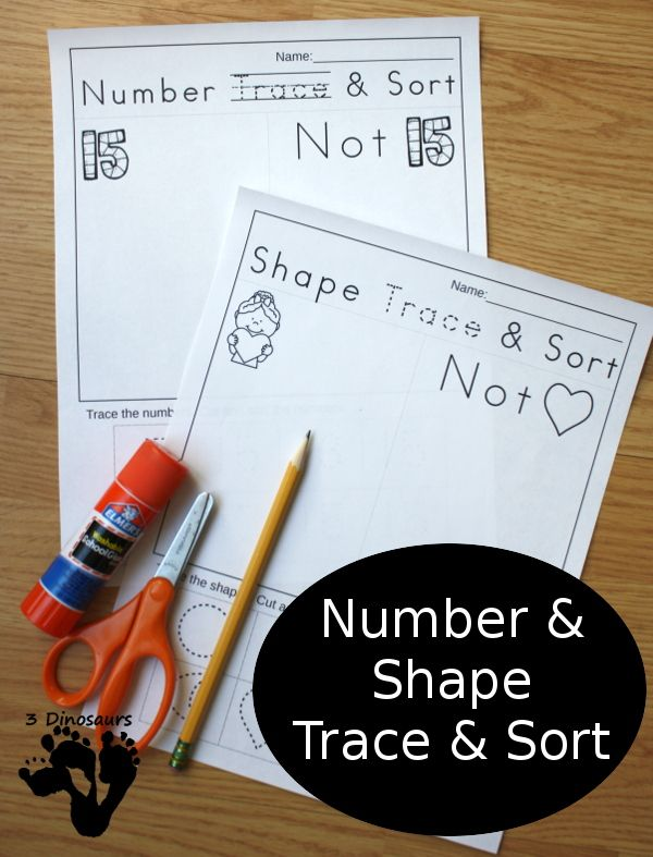 No Prep Printable: Number & Shape Trace & Sort - easy way to work on shapes and numbers with tracing and sorting - 3Dinosaurs.com