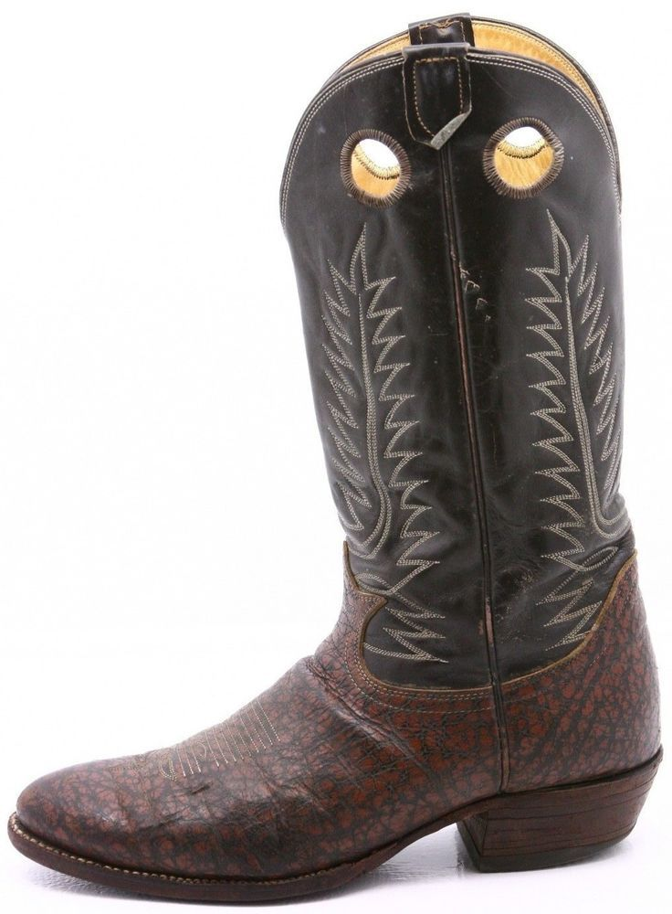 8efed215e89 Tony Lama Black Label Mens Cowboy Boots 12 D Brown Leather Buckaroo ...