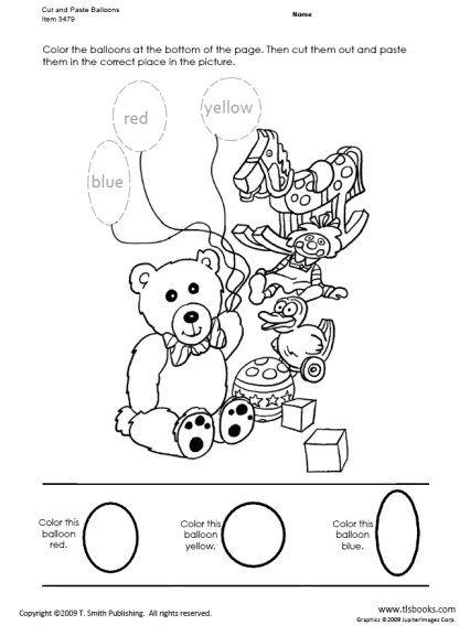 Snapshot image of Cut and Paste Balloons worksheet