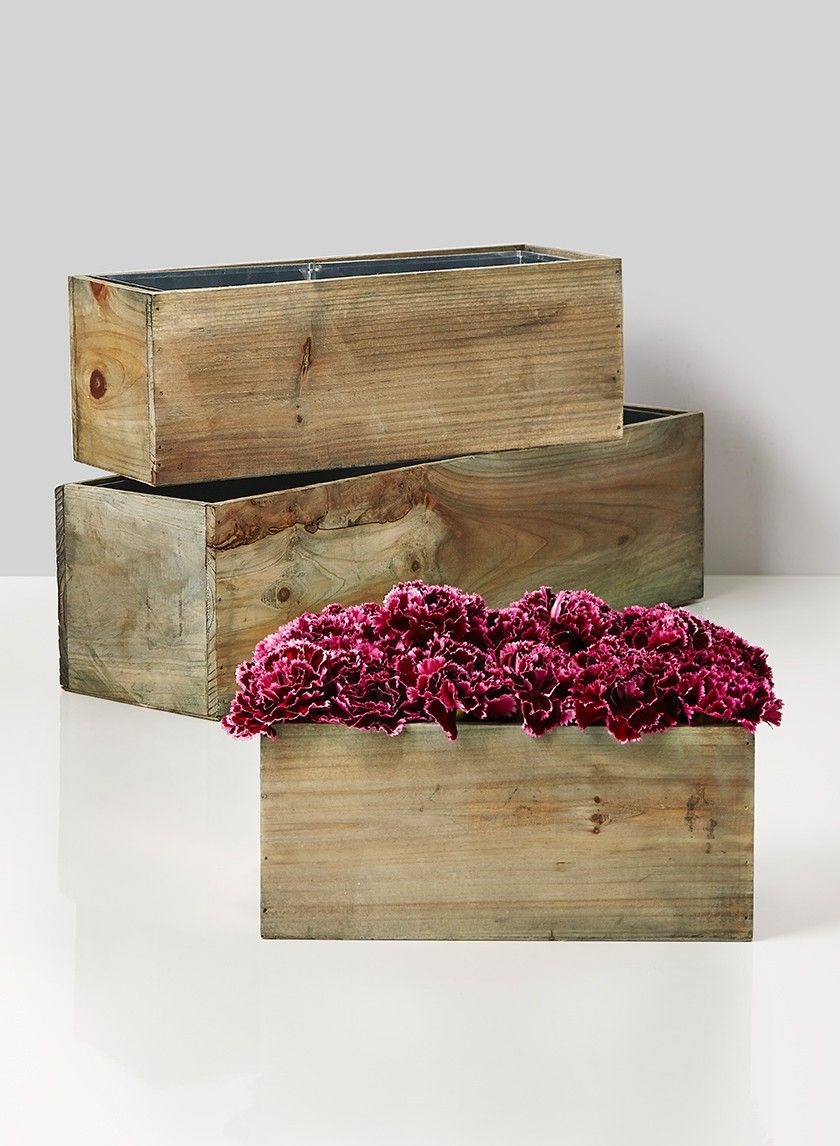 10in, 14in, & 20in Aged Pine Wood Flower Boxes Wood