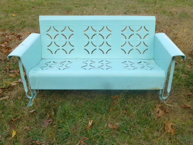 Vintage Antique Metal Porch Glider Bunting Company Philadelphia Pa Pie Crust Design Bench Retro
