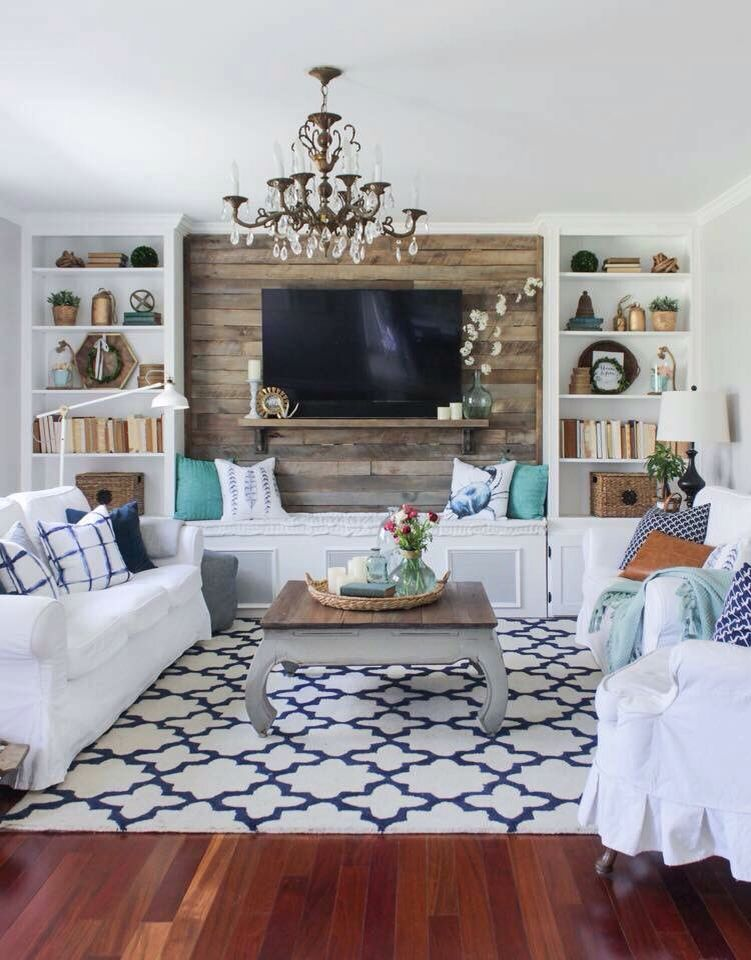 Love The Shiplap Wall Behind The Tv Farmhouse Style Living Room