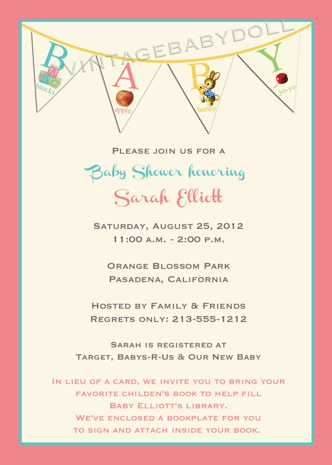 Vintage abc baby shower book plate bunting retro design for a girl items similar to vintage abc baby shower invitation and matching book plate bunting retro design for a girl or boy i design you print on etsy filmwisefo Gallery