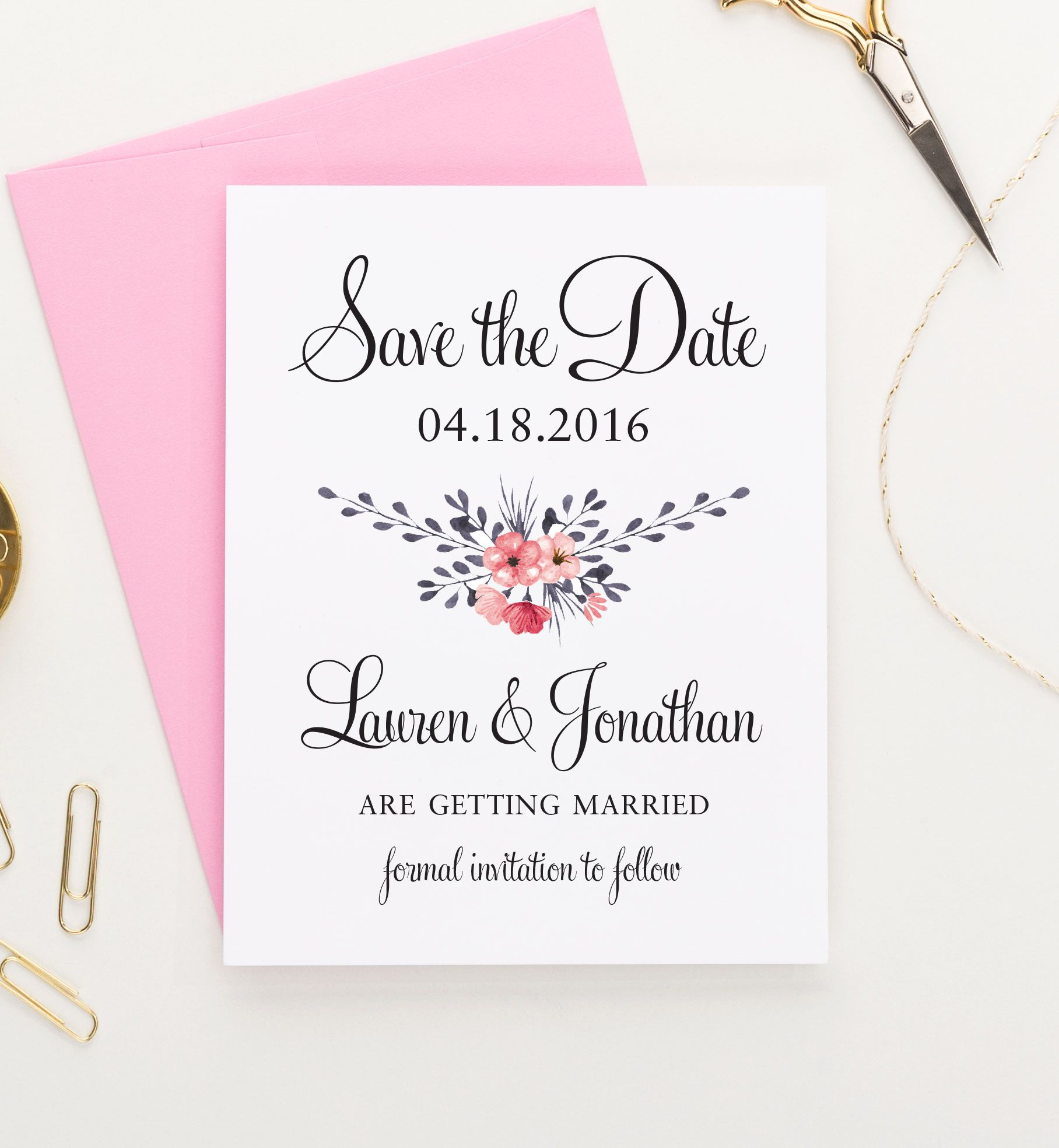 Floral save the date wedding announcement modern save the date floral save the date wedding announcement modern save the date monicamarmolfo Image collections