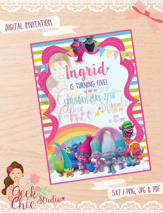 Trolls Invitation Birthday Party DIY Invite Trol