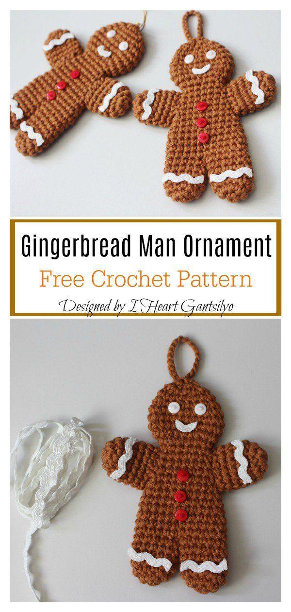 Gingerbread Man Ornament Free Crochet Pattern #uglysweaterideas