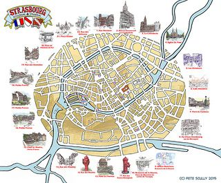 Map Of Strasbourg Illustrated Maps Tourist Map Strasbourg Map