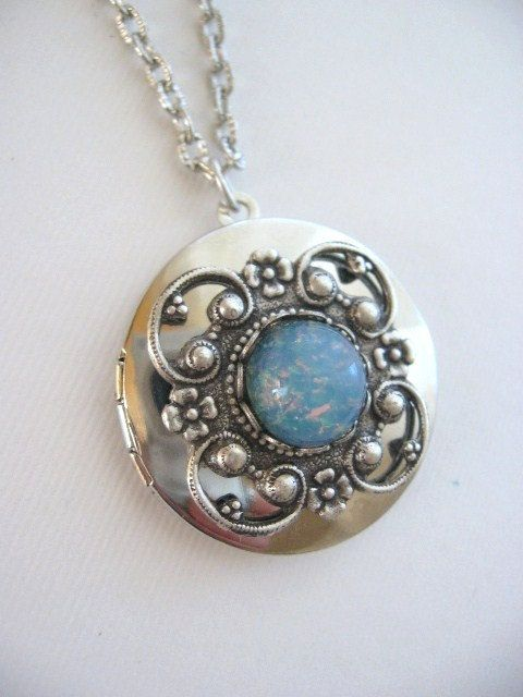 necklace pin gift locket silver pink photo for fire opal lockets
