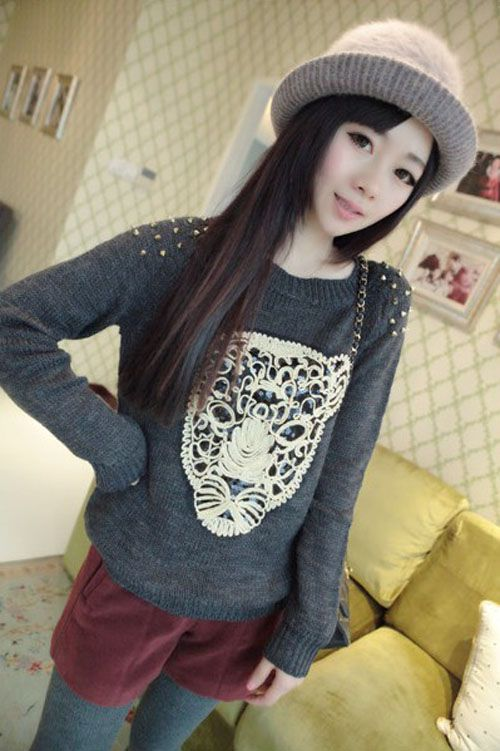 New Winter Fashion Casual Sweater  Steller Sequined Straps Rivets Sweater Tide