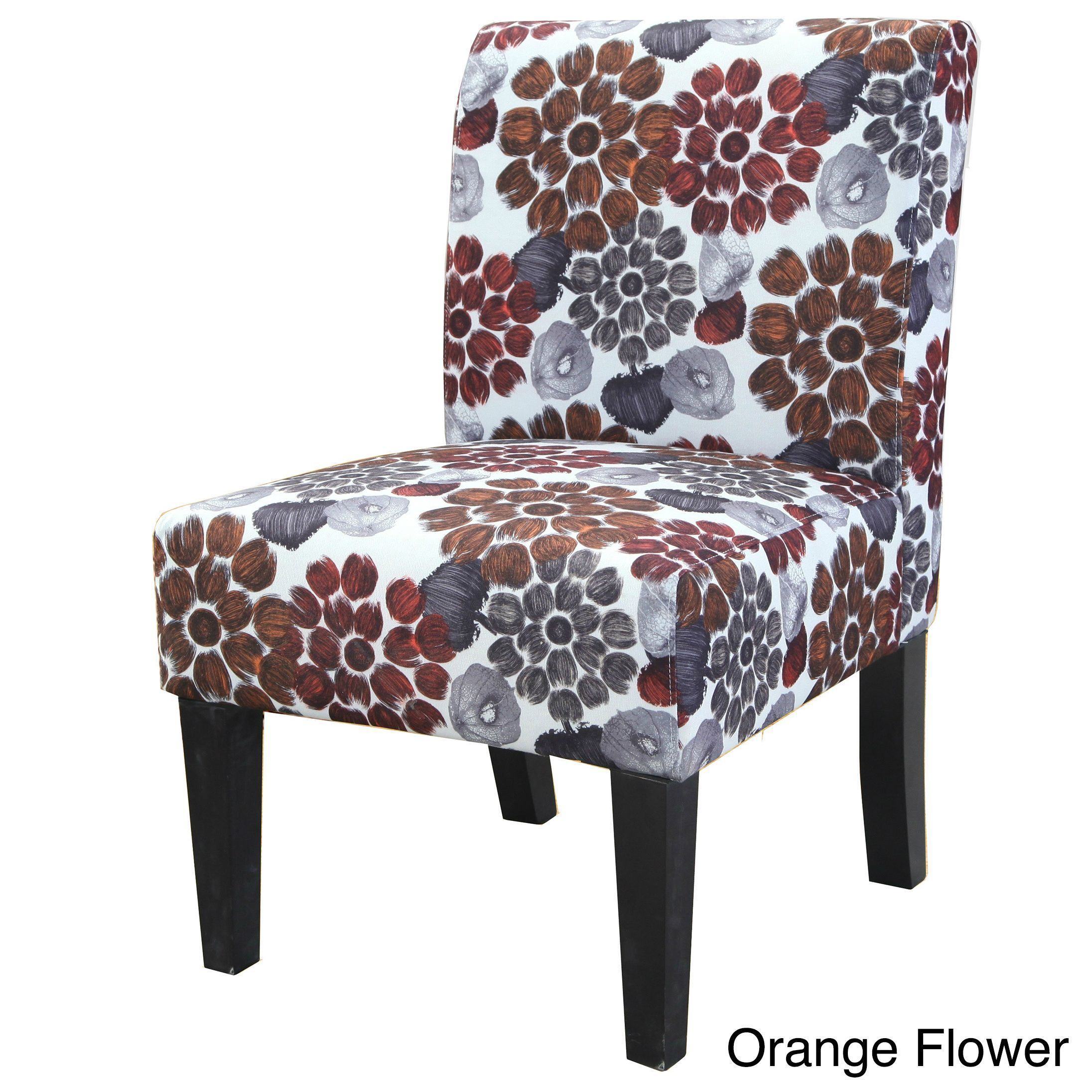 Us pride furniture grace floral accent chair orange flower pattern fabric accent chair
