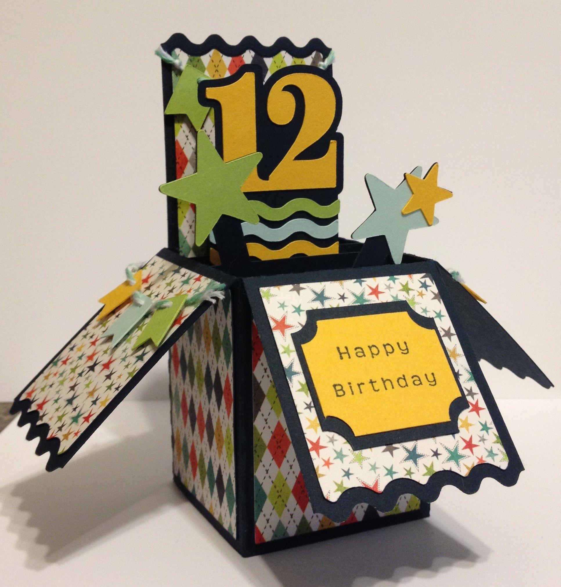 12th Birthday Box Card Silhouette Box Cards Pinterest 12th
