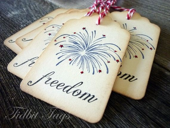 Freedom Tags - Fireworks Tags- American Tags - Fourth of July Tags - Freedom Fireworks