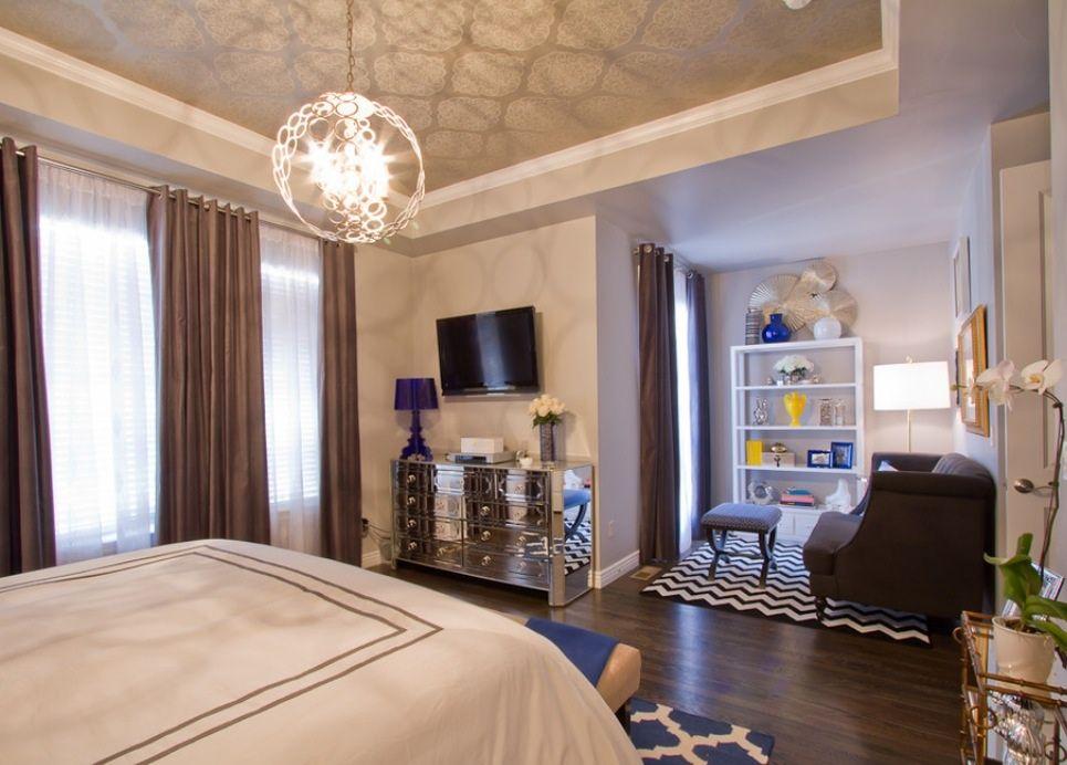 Master bedroom contemporary bedroom denver shawna jaramillo currey company tartufo chandelier wallpaper on ceiling is thybony